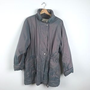 Retro Iridescent London For Zip Up Puffy Jacket M
